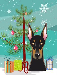 Christmas Tree and Doberman 2-Sided Garden Flag