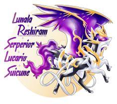 Lunala x Reshiram x Serperior x Lucario x Suicune by Seoxys6