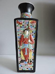 Online veilinghuis Catawiki:  Dubbelwandige Vierkante Vaas Familli Rose - China - 19e eeuw