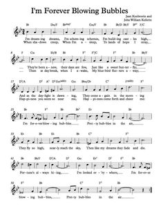 Free Sheet Music - Free Lead Sheet - I'm Forever Blowing Bubbles -  by Jaan Kenbrovin and John William Kellette