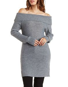 Cuffed Off-the-Shoulder Tunic Sweater: Charlotte Russe