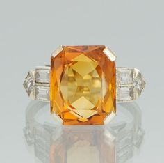 Art Deco Citrine and White Sapphire Ring by BeautyInJewels on Ets