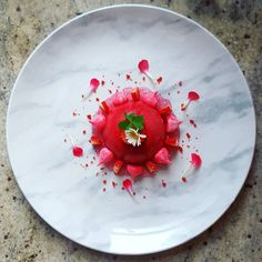 White chocolate mousse strawberry jelly meringue and tapioca pearls