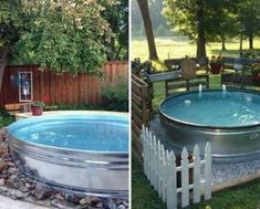 Stock Tank Pool Ideas For Your Incredible Summer [MUST-LOOK] - Get your stock tank pool DIY ideas right here! Find from galvanized, plastic, poly or metal stock tank pool inspirations. Metal Trough, Water Trough, Watering Trough Pool, Stock Pools, Stock Tank Pool, Farmhouse Landscaping, Backyard Landscaping, Backyard Ideas, Kid Backyard