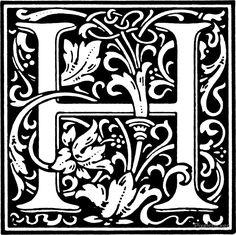 William Morris Renaissance Style Cloister Alphabet Letter H by Pixelchicken