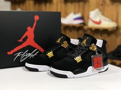 best service fdb75 e5853 This Air Jordan 4 Royalty colorway exudes a premium look with its black  nubuck upper, metallic gold accents and hardware, and white and black sole.