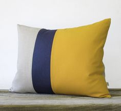 Stripe Pillow in Mustard Yellow, Navy and Natural Linen (16x20) by JillianReneDecor Summer Home Decor - Colorblock Striped Trio