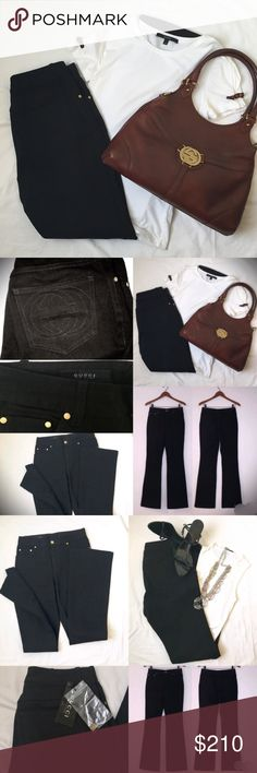 "Gucci Jeans in Black 28"" Mid rise, black denim, wide leg jeans. Gold tone Gucci stamped hardware throughout.  Subtle GG logo on rear right pocket. Zip and button closure. Tag and extra button included. Label size 42, but waist runs small so please pay extra attention to the approximate measurements below! No modeling. 100% cotton composition. Waist 28"" Front Rise 10"" Back rise 14"" Inseam 33.5 Length 43"" Leg opening 17.5"" Gucci Jeans Straight Leg"