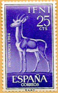 Sello Ifni de 25 céntimos, Pro Infancia, 1964 - Portal Fuenterrebollo