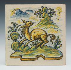 Glazed ornamental tile, Spain,19th Cent.