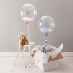 new baby feather filled balloon by bubblegum balloons | notonthehighstreet.com