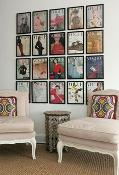 Find a collection of calendar/mags/maps & DIY a gallery! Vintage Vogue magazine covers on wall #frames #diy