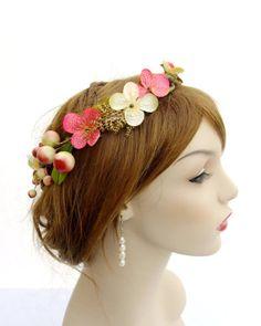 Bridal Flower Crown Coral Pink Circlet Bridal by RuthNoreDesigns, $48.00