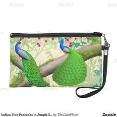 Indian Blue Peacocks in Jungle Bagettes Bag Wristlet Purses