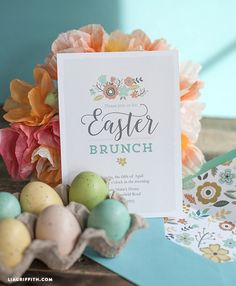 Use this gorgeous printable Easter brunch invitation and envelope liner as an excuse to have some friends over. Easter Invitations, Brunch Invitations, Invitation Envelopes, Printable Invitations, Birthday Brunch, Brunch Party, Easter Brunch, Easter Dinner, Christmas Brunch
