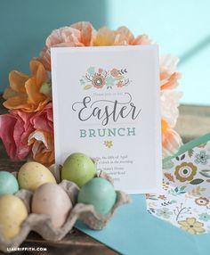 Printable Easter Brunch Invitation & Envelope Liner