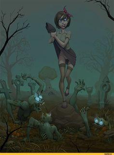 красивые картинки,art,арт,арт,ночь,кладбище,девушка,зомби