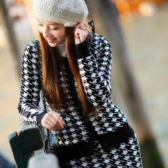 Angelcitiz houndstooth cardigan long-sleeve slim o-neck sweater female yh1407 free shipping