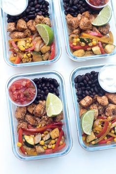 With a little advance planning on the weekend you can have these healthy Tex-Mex Chicken Meal Prep Bowls waiting in your refrigerator for a fast and easy meal anytime. Perfect for lunch on-the-go! ~ https://www.fromvalerieskitchen.com