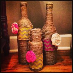 My version of the twine wrapped wine bottles.