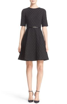 Main Image - Ted Baker London 'Cealine' Belted Texture Fit & Flare Dress