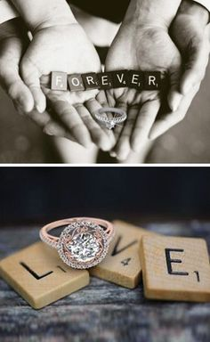 Love this Idea ... the Rings & Pictures #diy #scrabble #wedding