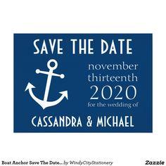 Boat Anchor Save The Date (Dark Blue) 5x7 Paper Invitation Card