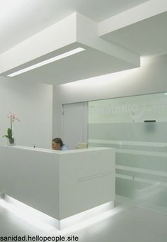 Dental Office, in Amarante, Portugal, by David Cardoso with Joana Marques. Dental Office Decor, Medical Office Design, Modern Office Design, Healthcare Design, Modern Offices, Contemporary Office, Office Designs, Dental Reception, Reception Desk Design