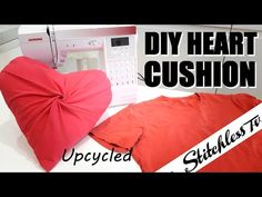 DIY draped heart memory cushion upcycled t shirt, Valentine's Day Gift Sewing Hacks, Sewing Tutorials, Sewing Crafts, Sewing Patterns, Great Valentines Day Gifts, Valentines Diy, Heart Cushion, Upcycle, Reuse