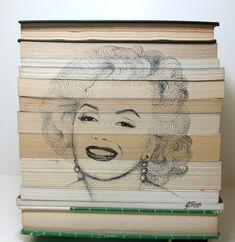 Pointillism of Marilyn Monroe on book structure in ink. Welcome Design, Desktop Publishing, Pointillism, Art Studios, Marilyn Monroe, Art Direction, Ink, Fine Art, Artist