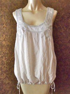 MONORENO White Cotton Boho Floral Embroidered Blousey Tank Top Shirt L 12 #TankCami #Casual