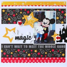 Hello Queen and Company friends! It's Mary Ann Jenkins here today with two layouts to share, both with a fun Disney theme! My first layout is of my son and Mickey Mouse, and even though he wasn't too sure about. Paper Bag Scrapbook, Disney Scrapbook Pages, Baby Scrapbook, Scrapbooking Ideas, Scrapbook Borders, Scrapbook Templates, Vacation Scrapbook, Scrapbook Layout Sketches, Disney Theme