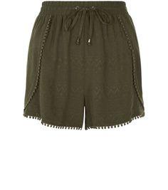 Khaki Embroidered Pom Pom Trim Shorts | New Look