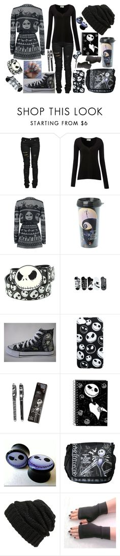 """Jack skellington/Nightmare Before Christmas"" by legacy-sinister ❤ liked on Polyvore featuring Denim of Virtue, American Vintage, Hot Topic, Converse, Disney and Leith"
