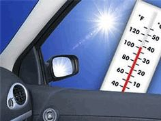 Danger: Don't leave your child or pet in a hot Car! Even on a mild day, the temperature in a car can raise 19 degrees in a matter of 10 minutes.