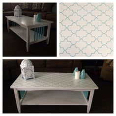 Refinished/painted coffee table with turquoise stencil on top.