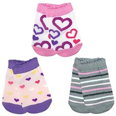 LITTONE Baby Girls Cotton Heart Stripe Short Socks