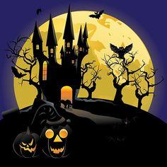 'Haunted Halloween Castle' by AnnArtshock Spooky Halloween Pictures, Halloween Fence, Halloween Artwork, Halloween House, Fall Halloween, Happy Halloween, Haunted Halloween, Halloween Stuff, Halloween Templates