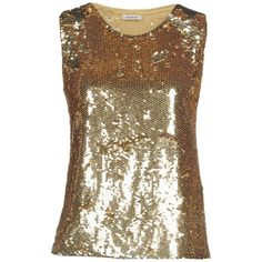 P.a.r.o.s.h. Top (4 070 ZAR) ❤ liked on Polyvore featuring tops, gold, sequin sleeveless top, brown top, gold sleeveless top, sequin embellished top and no sleeve tops