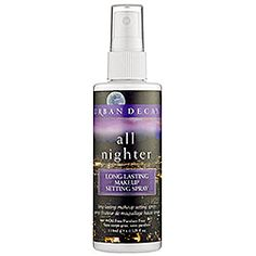 Urban Decay's All Nighter Long-Lasting makeup setting spray. It really works! Make-up stays on all day without smudging :)