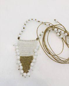 Macrame jewelry, macrame necklace, boho necklace, beaded macrame, beaded jewelry, white lava jewelry, semi precious macrame jewelry by MardijewelryStore on Etsy