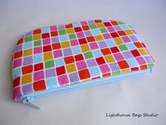 Small Zipper Pouch  A rainbow of squares by Lighthousebags on Etsy, $10.50