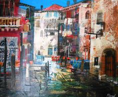 Mike Bernard's Sunlit Venetian Canal (mixed media) I theartcurator.com Mike Bernard, City Drawing, Mixed Media Artists, Venetian, Collage Art, Buildings, Laundry, Sketch, Flower
