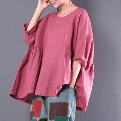 Women loose summer t-shirt linen blouse short sleeve tops