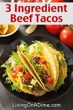 Easy 3 Ingredient Beef Tacos Recipe - Easy 3 Ingredient Dinner Recipes