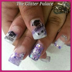 Graduation nails  Glitter acrylic nails For appointments in Sac. call Kristal 916-670-0010 The Glitter Palace