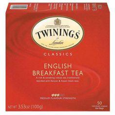 TWININGS OF LONDON: Tea Classics English Breakfast Tea, 50 Tea Bags, 3.53 oz