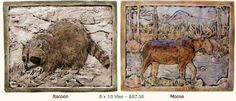#LGLimitlessDesign & #Contest  American Wildlife Raccoon and Moose Tile 5 x 8 Tile--$82.50