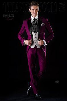 Purple And Black Peak Lapel Groom Suit Wedding Tuxedo Luxury