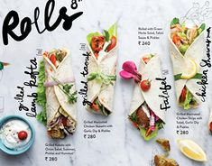 Food & beverage photography - Zizo Menu on Behance Food Graphic Design, Food Menu Design, Web Design, Menu Card Design, Design Ideas, Stationery Design, Menu Restaurant, Restaurant Identity, Mini Wraps